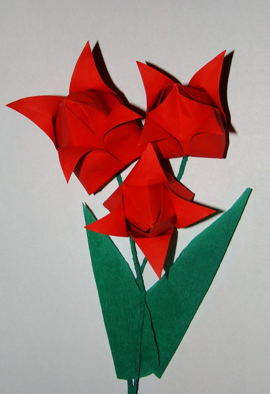 Как сделать объемные цветы из бумаги тюльпан